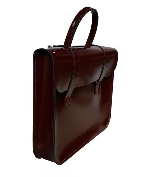 Music Case in Patent Oxblood Leather