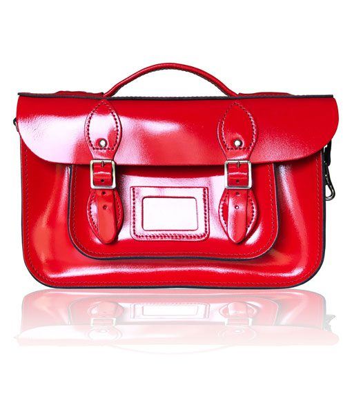 "12.5"" Briefcase Satchel with Magnetic Fasteners - Patent Red"