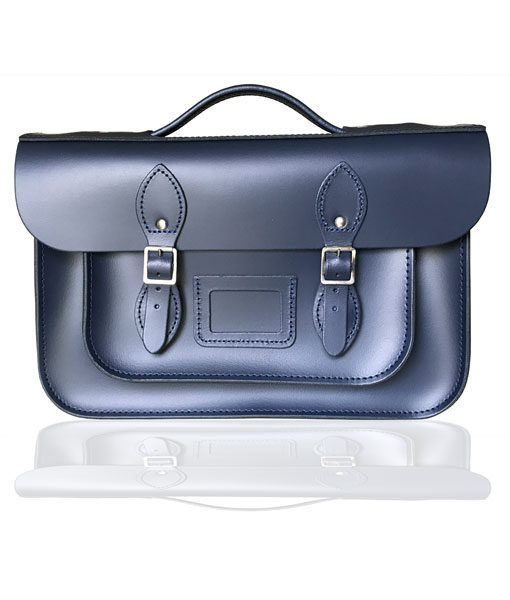 """14"""" Leather Briefcase Satchel with Magnetic Fasteners"""