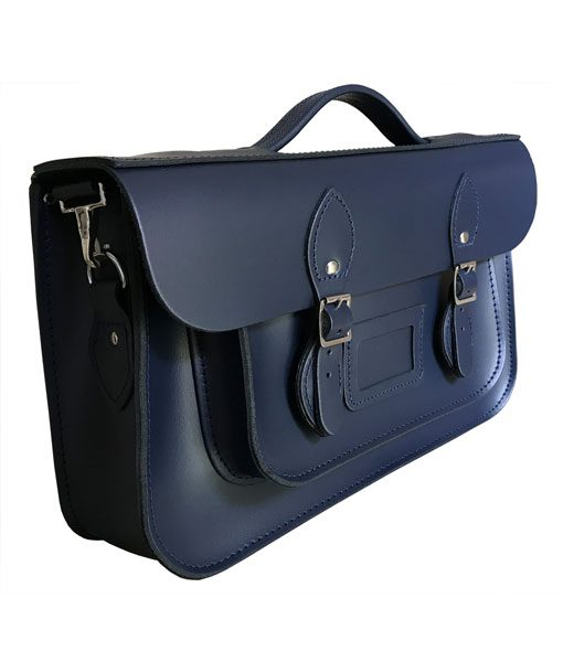 """14"""" Leather Briefcase Satchel with Magnetic Fasteners - Navy Blue"""