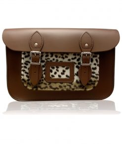 "12.5"" Leather Satchel with faux fur leopard print pocket"