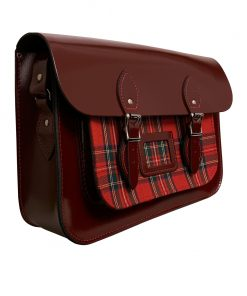 Patent Oxblood Leather and Royal Stewart Tartan bag with magnetic fasteners